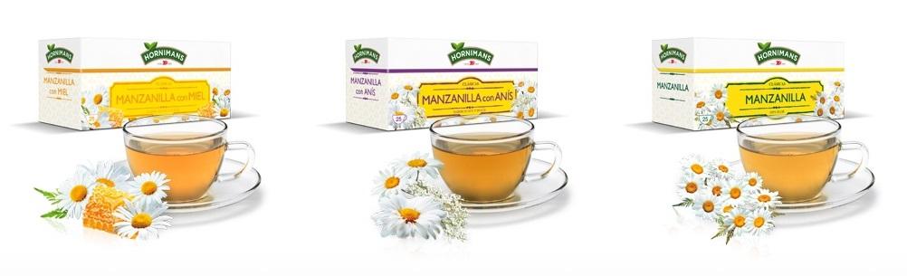 Manzanilla con Miel (左 ハチミツ入り) Manzanilla con Anis (中 アニス入り) Manzanilla (右 プレーン)